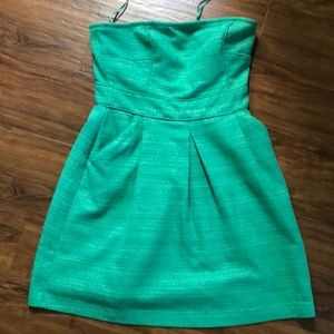 Strapless emerald green dress from banana republic